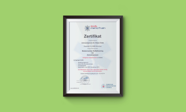 Zertifikat medizinisches Notfalltraining