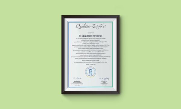 Zertifikat Qualität
